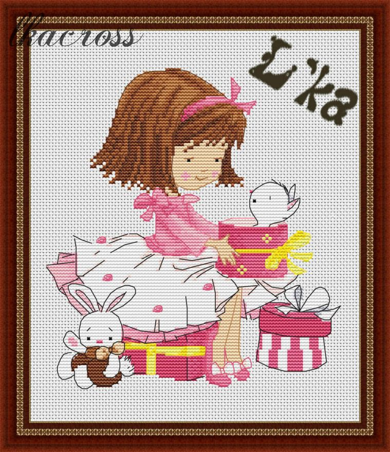 XStitch pattern Girl with a kitten