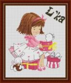 "Cross stitch pattern ""Girl with a kitten""."