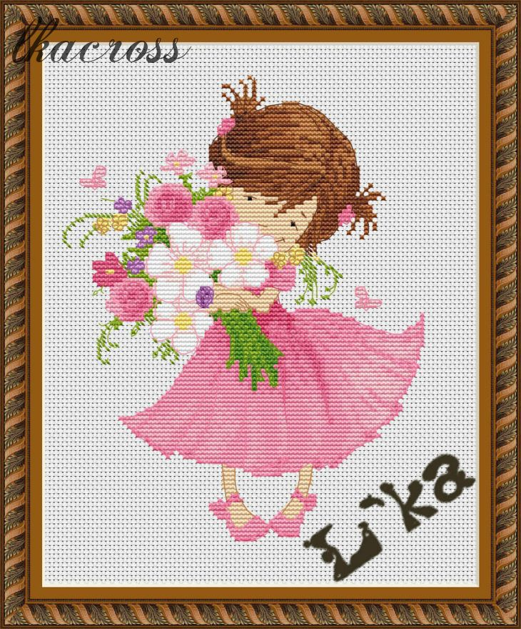 XStitch pattern Girl with a bouquet