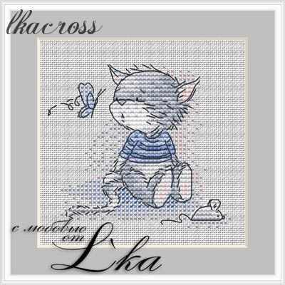 XStitch pattern Kitten and butterfly