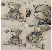 "Cross stitch pattern ""Kitten and butterfly""."
