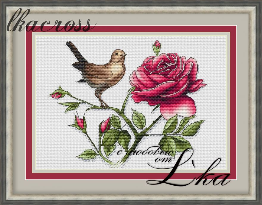 XStitch pattern The Nightingale and the rose