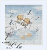 "Cross stitch pattern ""Paper boat""."