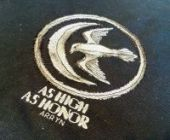 """Cross stitch pattern """"As High As Honor""""."""